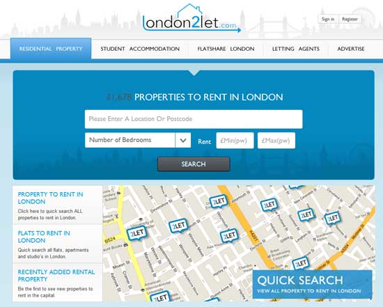 London 2 let site - great design and usability